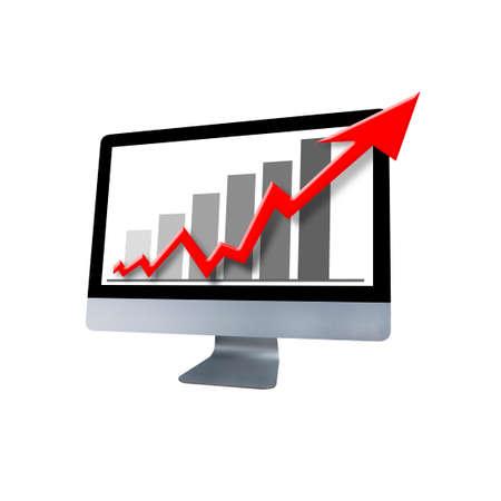 incremento: Gráfica que muestra un ordenador con Aumento Foto de archivo
