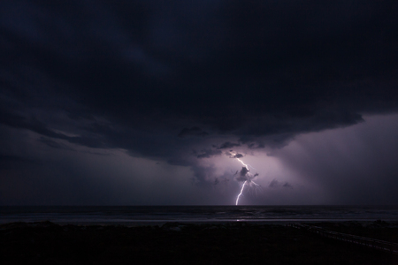 Lightning and the Ocean Stock Photo