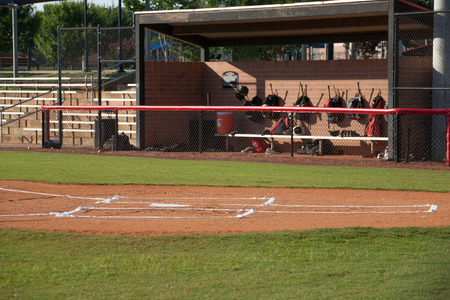 Baseball Field with Dugout Stock Photo