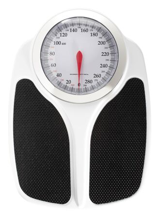 Bathroom Scale on White Background Imagens