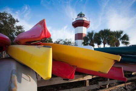 Colorful Kayaks Piled up near Lighthouse in Hilton Head, South Carolina
