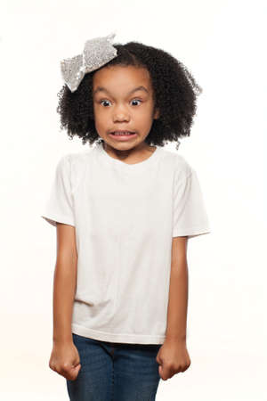 Cute Young Expressive African American Girl on a White Background