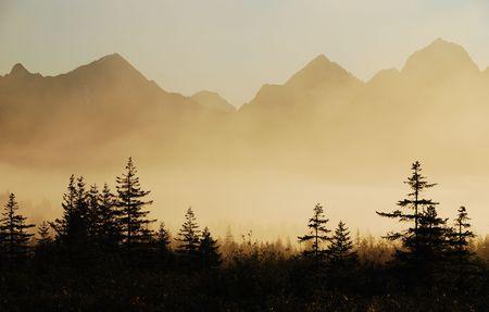 アラスカ、銅川デルタ日の出
