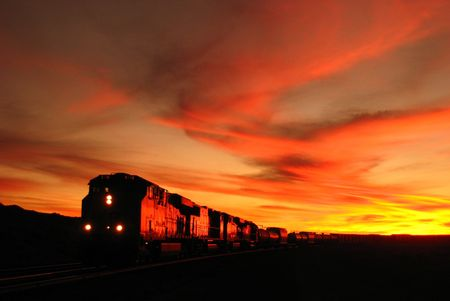 promontory: Train on Promontory Point, the Great Salt Lake