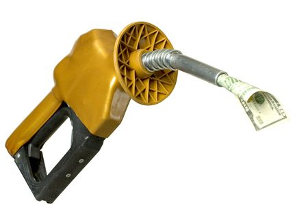 gouge: Money coming out of gasoline pump Stock Photo