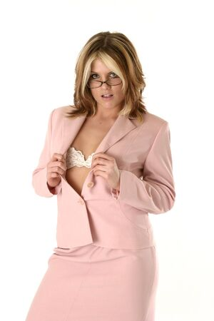 Sexy Boss showing her bra, wearing glasses. Stock Photo - 436527