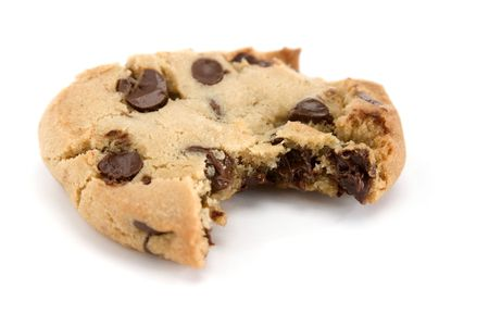 Single chocolate chip cookie with a single bite photo