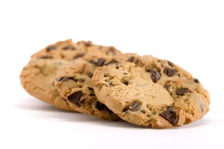 baked treat: Group of chocolate chip cookies