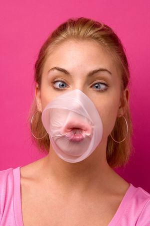 big bubble gum bubble popping on a girl's face Imagens - 438869