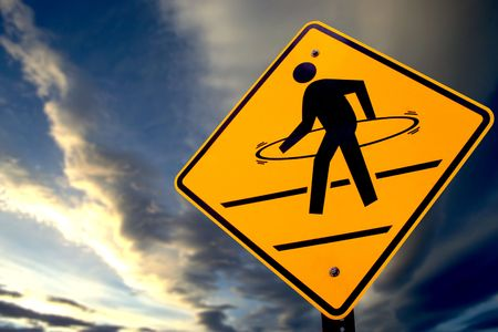 satire: Funny street sign showing as a hoola hoop crossing Stock Photo