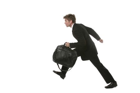A businessman in suit running with a briefcase.