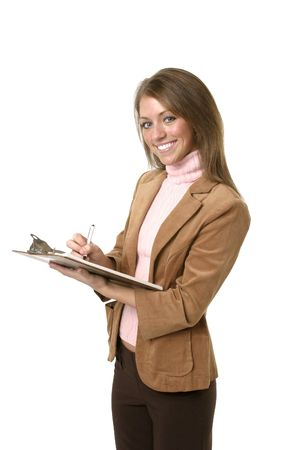 Professional Woman, using clipboard