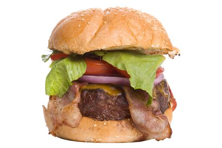 all american burger: Big Bacon Cheeseburger with lettuce, red onion and tomato on a sesame seed bun.