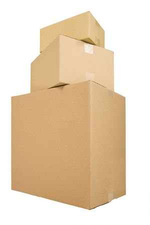 shipped: three  boxes ready to be shipped or delivered Stock Photo