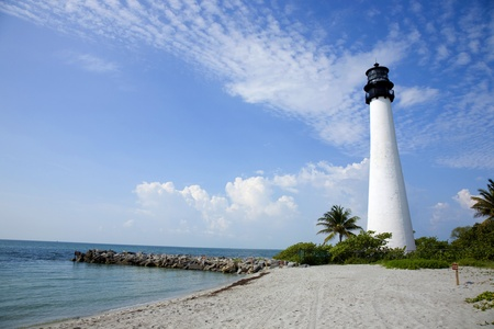 Key Biscayne Lighthouse over looks the ocean on a brilliant Florida morning photo