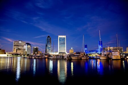 Skyline for the City of Jacksonville Florida taken at sunset Stock Photo - 10464407