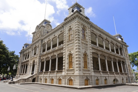 Ê»Iolani Palace in Honolulu, Hawaii, the only royal palace in the United States. Built by King Kalakaua in 1882. Home of the last two monarchs of Hawaii.