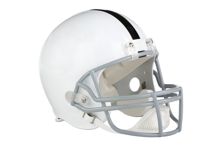 facing right: Football helmet facing right with single black stripe facing right with clipping path