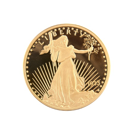 minted: 1933 Twenty Dollar Gold Double Eagle coin minted by the United States of America, designed by Augustus Saint-Gaudens. This is a copy of the actual coin. Stock Photo