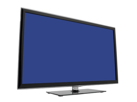 facing right: Modern HDTV with blue screen facing right isolated