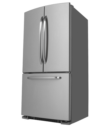 Moderne RVS drie-deurs koelkast naar links kijkt