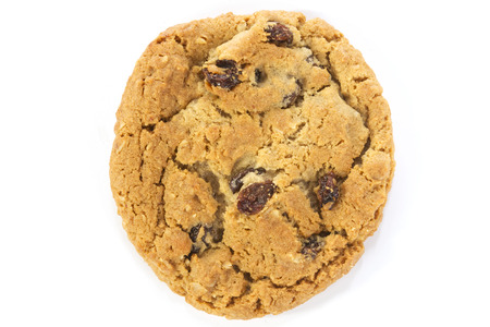 oatmeal cookie: single oatmeal raisin cookie overhead view on white