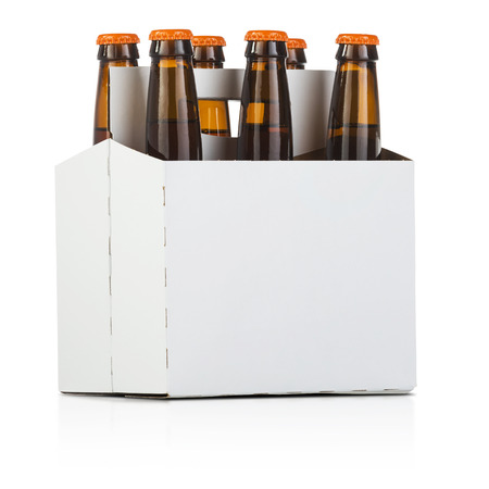 a six pack bottle of beer on white