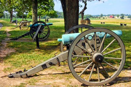 national military cemetery: four cannons in a line gettysburg pa