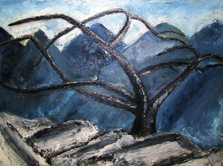 contemporary: abstract painting of tree and mountains