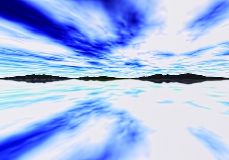 expansive: expansive mirrored mountain landscape Stock Photo