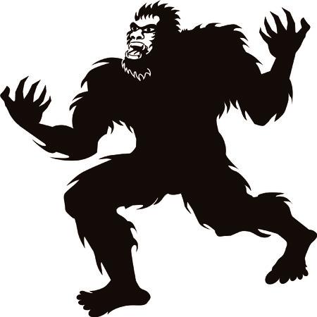 Bigfoot Sasquatch screaming howling silhouette