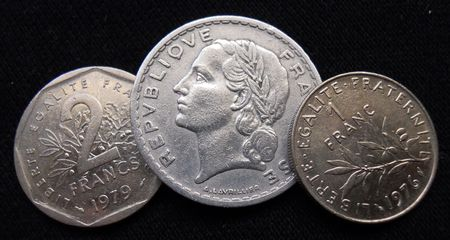 franc trio 3 franc coins of different values all in rxcellent condition