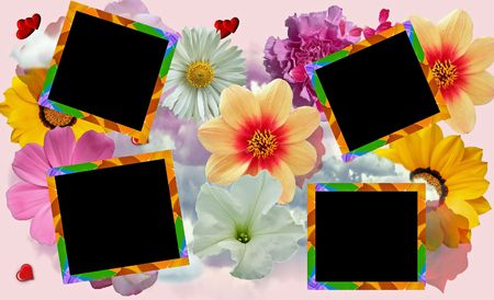 layout for collage or scrapbook crafts just put your pictures on black squares photo