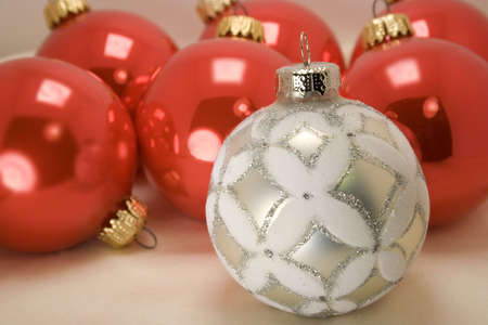 closeup of glittery silver and white Christmas ornament Stock Photo