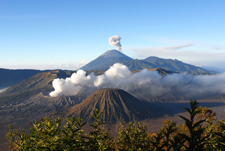 an outburst: Mount Bromo, an active volcano and part of the Tengger Semeru National Park in East Java, Indonesia.