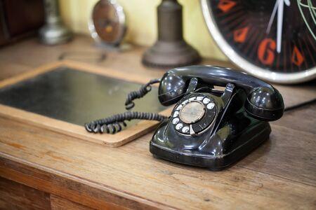 vintage phone on table Stock Photo