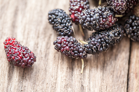 fresh organic mulberries on wooden background
