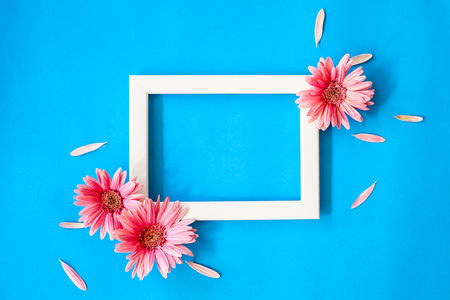 Empty frame and  gerbera flowers on colorful background