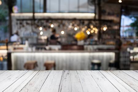 Empty wood Shelf on coffee cafe background
