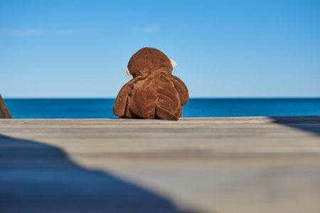 Close-up of a sad brown toy monkey and alone sitting on a wooden ladder going down to the beach looking pensively in the background to the sea with a blue sky