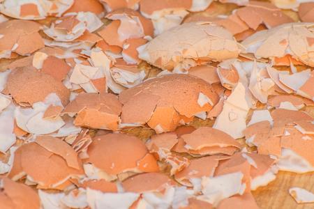 crack: A lot of broken eggshells leftovers of boiled eggs Stock Photo