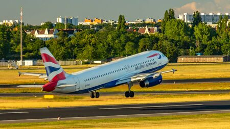Berlin, Germany, 01.07.2018: British Airways Airbus A320 aircraft flying out of Tegel Airport Editorial