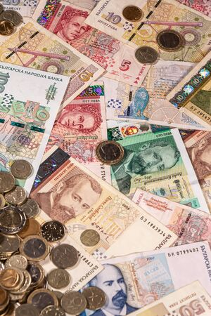 A composition of Bulgarian lev banknotes and coins providing great options to be used for illustrating subjects as business, banking, media, presentations etc.