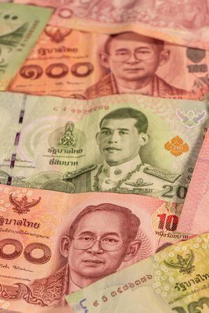 A composition of Thai baht. THB banknotes providing great options to be used for illustrating subjects as business, banking, media, etc.