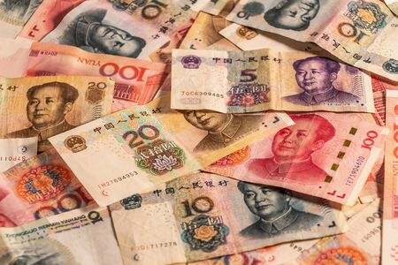 A composition of Chinese Renminbi RMB. People's Currency. Yuan CNY banknotes providing great options to be used for illustrating subjects as business, banking, media, etc. Stock fotó