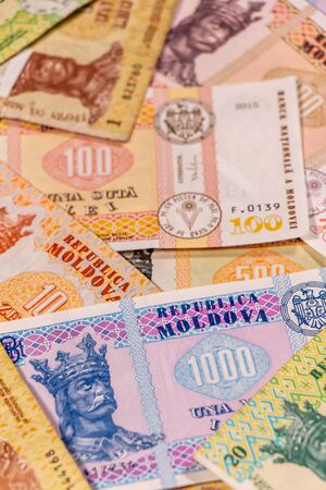 A composition of Moldovan leu. MDL banknotes providing great options to be used for illustrating subjects as business, banking, media, etc. Stock fotó