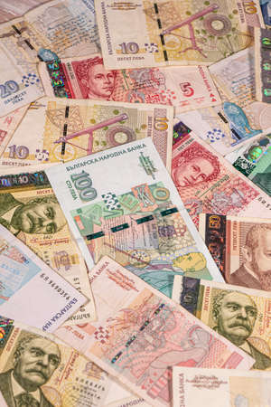 A composition of Bulgarian lev banknotes providing great options to be used for illustrating subjects as business, banking, media, presentations etc. Stock fotó