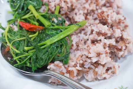 Food for Health Fried morning glory with Coarse rice photo