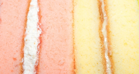 fondant fancy: The close up the two chiffon cake Stock Photo