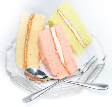 fondant fancy: The Set of chiffon cake, strawberry, green tea and vanilla cake